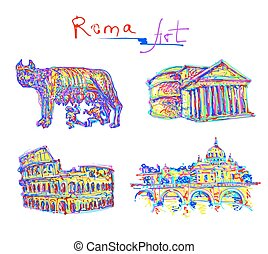 set famous place of Rome Italy, original drawing in rainbow...