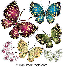 set, fantasie, ouderwetse , vlinder