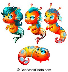 Set fantasy cartoon seahorse isolated on a white background. Stages of transformation from larvae in the sea pony with Golden hooves. Vector illustration