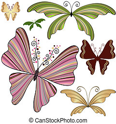 Set fantasy striped butterflies