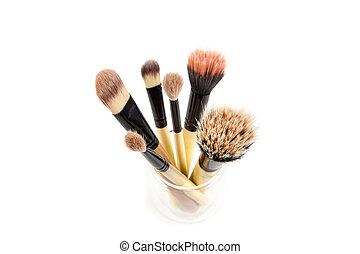 set, fare, spazzole, isolato, su, fondo, bianco