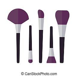 set, fare, spazzole, su, illustrazione, cosmetico, vettore