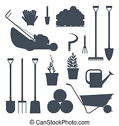 Set farm tools flat black silhouette-vector illustration. Garden instruments icon collection isolated on white background. Farming equipment