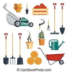 Set farm tools flat-vector illustration. Garden instruments icon collection, shovel, pitchfork, rake, lawnmower, gloves, wheelbarrow, plants, watering, isolated on white background. Farming equipment.
