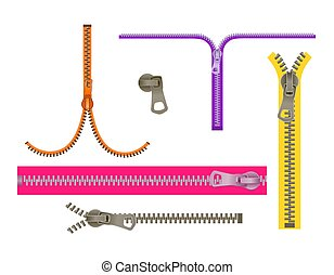 Set fashion Elements. Basic Plastic Zipper. Open and closed lock. Repeating element. fastener vector.