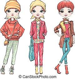 Set fashion girl in autumn clothes