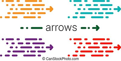 Set Fashionable new arrow in a modern style. Red, yellow and blu