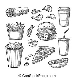 Set fast food. Coffee, hamburger, pizza, hotdog, fry potato,...