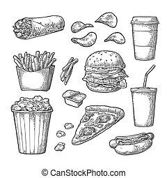Set fast food. Coffee, hamburger, pizza, hotdog, fry potato...