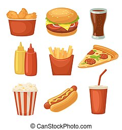 Set fast food icon. Cup cola, chips, burrito, hamburger, pizza fried chicken legs symbol for fast food delivery or takeaway packaging