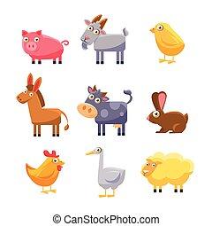 set, fattoria, collection., illustrazione, vettore, animale