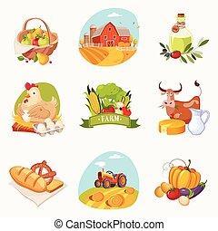 set, fattoria, relativo, luminoso, oggetti, adesivi