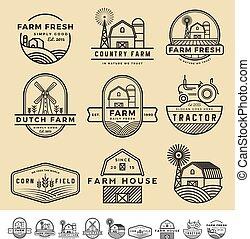 set, fattoria, vendemmia, etichette, moderno, illustrazione, vettore, logotipo, distintivo, design.
