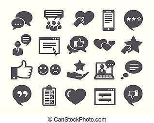 set, feedback, icone