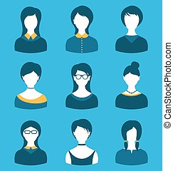 Set female characters, front portrait,  isolated on blue background
