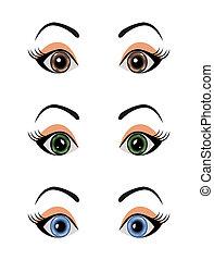 set female eyes isolated - Illustration set female eyes...