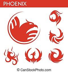 set, feniks, iconen, vuur, vector, mal, vogel