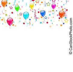 set, festa, palloni, coriandoli, con, spazio, per, testo