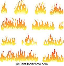 set, fiamme, fuoco, isolato, vettore, bianco