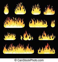 set, fiamme, fuoco, isolato, vettore, sfondo nero