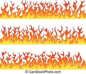 set, fiamme, fuoco, seamless, vettore, linea
