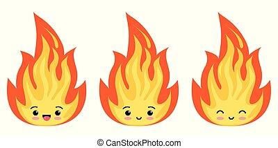 set, fiamme, isolato, fuoco, fondo., icona, emoji, bianco