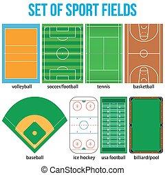 set, fields., campione, la maggior parte, popolare, sport