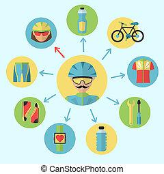 set, fiets, iconen