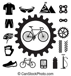 set, fiets, iconen