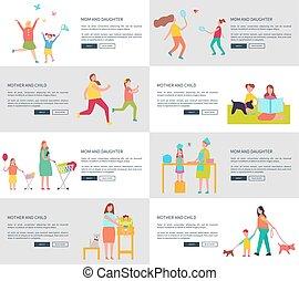 set, figlia, illustrazione, vettore, mamma, pagine