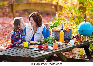 set, figlia, madre, autunno, tavola, picnic