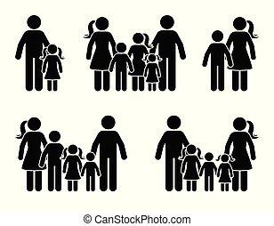 set, figura, genitori, bastone, bambini, icona