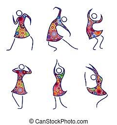 set, figuren, zes, vrouwlijk, dancing
