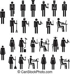 set, figuur, iconen, mensen, werk, beroep