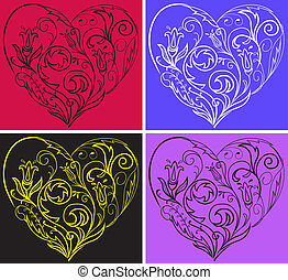 Set filigree hearts