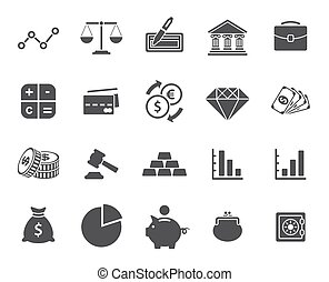 set, financiën, iconen