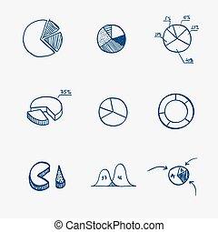 set, finanza, affari, grafico, -, grafico, torta, diagramma, concetto, infographics, draw., cerchio, mano, scarabocchiare