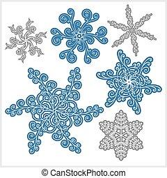 set, fiocco di neve, inverno