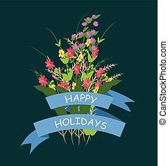 set, fiori, erba
