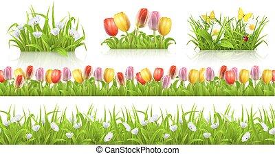 set, fiori primaverili, seamless, modello, vettore, erba, 3d