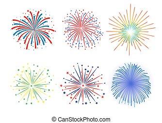Set Firework design on white background
