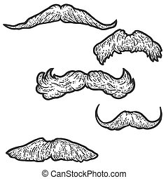 Set, five male retro mustaches. Sketch scratch board imitation coloring. Engraving vector illustration coloring