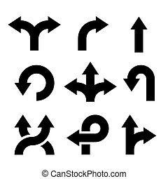 set., flèches, icônes