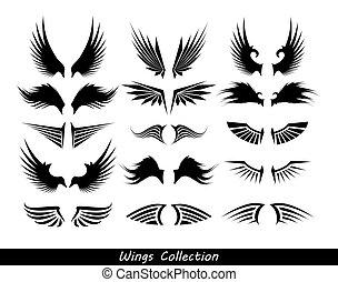 (set, flügeln, sammlung, wings)