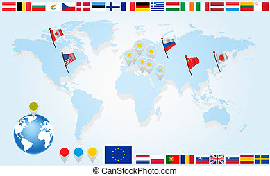 Set Flags of EU countries on world map