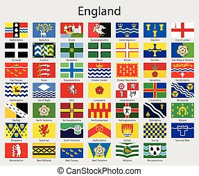 Set Flags of the counties of England, All English regions flag collection
