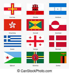 Set Flags of world sovereign states. Vector illustration....