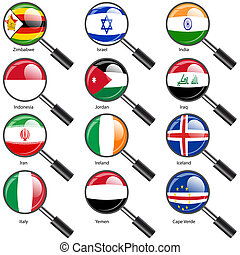 Set  Flags of world sovereign states Magnifying glass. Vector illustration. Set number 6. Exact colors. Easy changes.