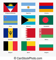 Set Flags of world sovereign states. Vector illustration. ...