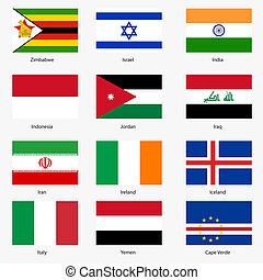 Set  Flags of world sovereign states. Vector illustration. Set number 6. Exact colors. Easy changes.